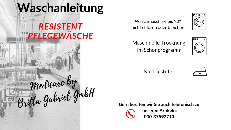 Waschanleitung - Pflegeoverall Standard lang Resistent