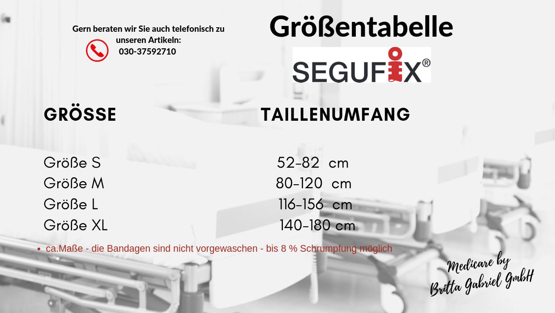 Größentabelle - Segufix - Standard Bauchgurt mit Schrittgurt