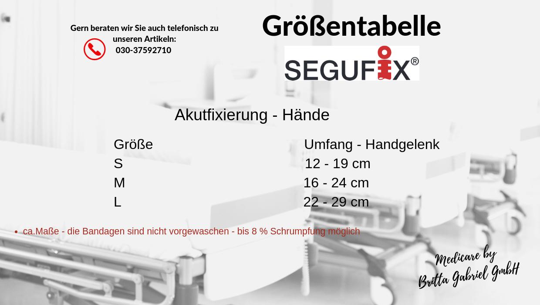 Größentabelle - Segufix - Akutfixierung - Hand