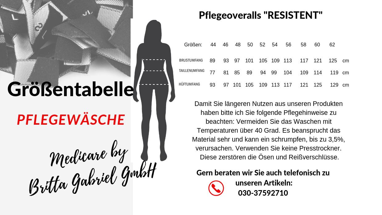 Größentabelle - Pflegeoverall Standard kurz Resistent