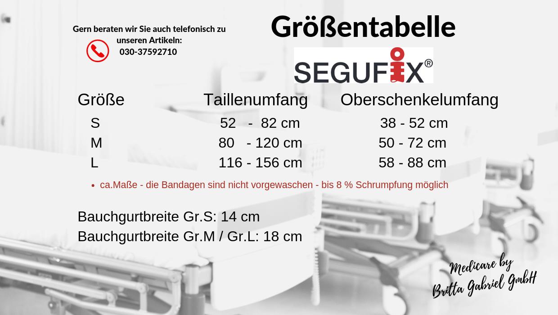 Größentabelle - Segufix Standard mit Oberschenkelmanschetten