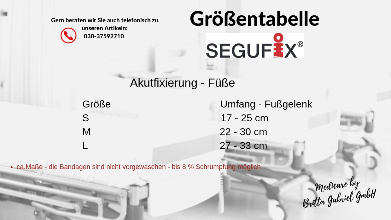 Größentabelle - Segufix - Akutfixierung - Fuß